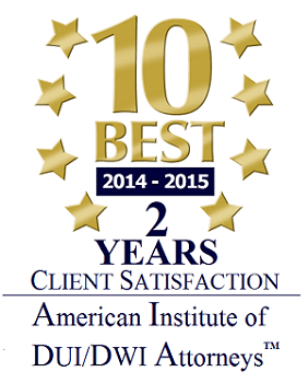 10 Best 2014-2015 Client Satisfaction Award American Institute of DUI/DWI Attorneys