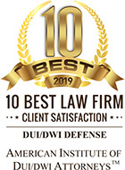 10 Best 2019 Client Satisfaction Award American Institute of DUI/DWI Attorneys