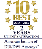 10 Best 2015-2016 Client Satisfaction Award American Institute of DUI/DWI Attorneys